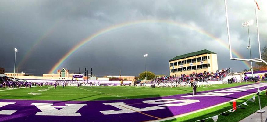 Double Rainbow over WSU Football Field During Homecoming Game