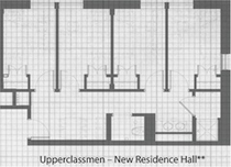 The floor plan for New Hall�s suite style rooms.