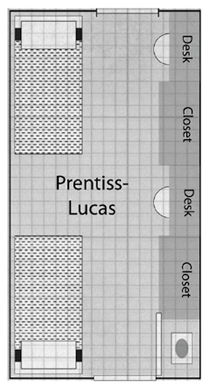 The floor plans for Prentiss-Lucas hall rooms.