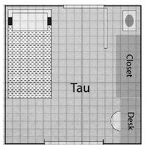 Floor plans for Tau Center rooms.