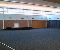 : The East Hall features a large space with a raised stage for various types of events.