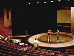 A show is being rehearsed on the Main Stage in Winona State University's Performing Arts Center.