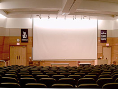 SLC's Lecture Hall features armchair writing desks, stadium seating, and audio-visual equipment for tele-conferencing and video projection.