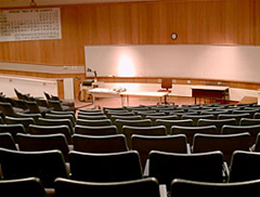 : Miller Auditorium features audio-visual equipment such as LCD projectors, wired microphones and retractable projection screens.