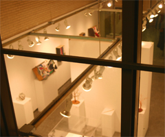 The Watkins Gallery is viewed from the top level viewing area, which allows the viewer to get a bird's eye view of the show.