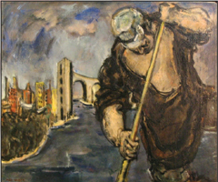 Max Weber's painting features an oarsman working in the foreground, shore and a city behind him.